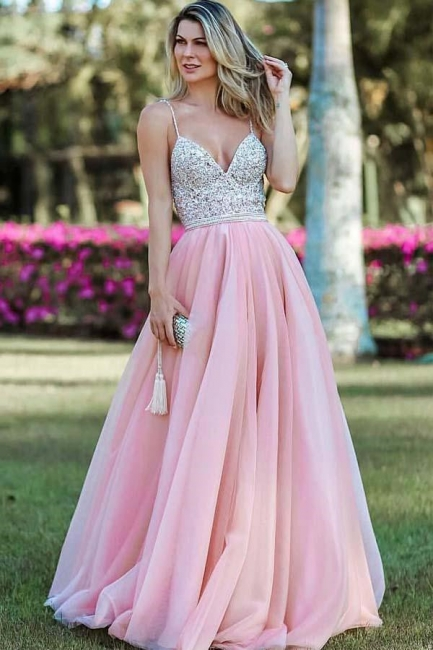 Crystal Spaghetti-Strap Applique Prom Dresses Side slit Backless Sleeveless Sexy Evening Dresses