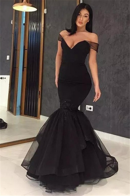 Black Off-the-Shoulder Applique Prom Dresses Ruffles Mermaid Sexy Evening Dresses