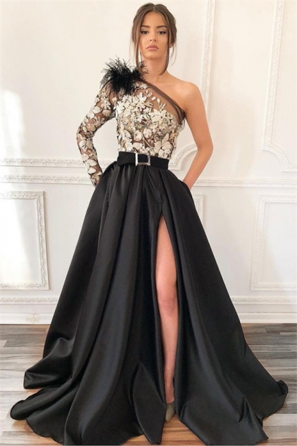 Sexy Black One Shoulder Applique Front Slit A Line Prom Dresses With Sash