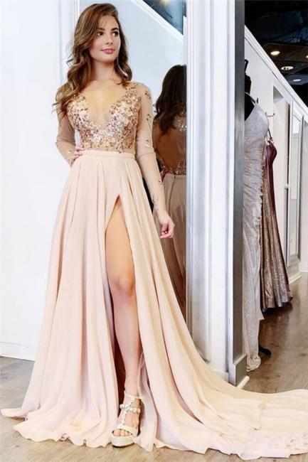 Chic Sequin V-Neck Applique Crystal Prom Dresses Side slit Longsleeves Sexy Evening Dresses