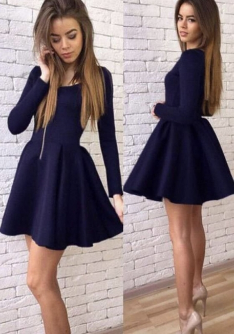 Black Short Long-Sleeves Sexy A-line Homecoming Dresses 2018