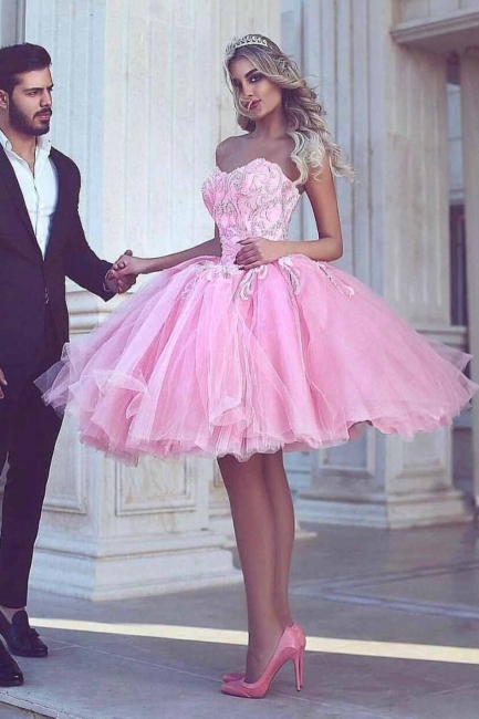 Pink Ball-Gown Appliues Sweetheart-Neck Short Homecoming Dresses