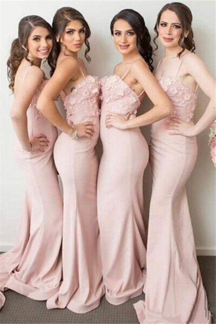 Spaghettis-Straps 3D-Floral-Appliques Mermaid Pink Bridesmaid Dresses