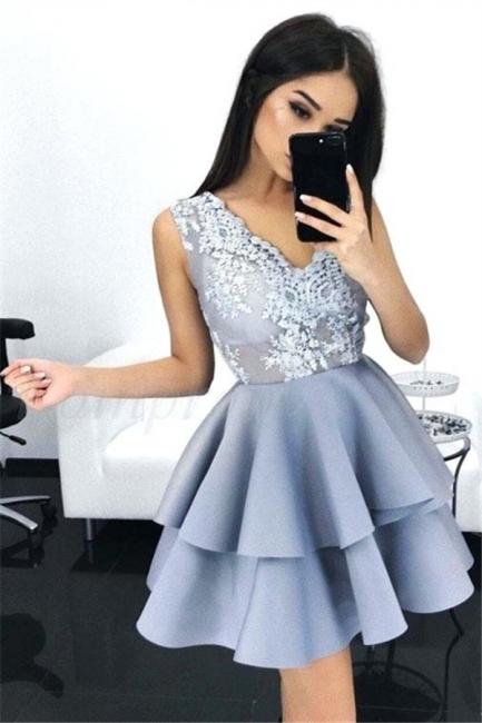 Layers Sleeveless V-Neck A-line Elegant Lace Homecoming Dresses
