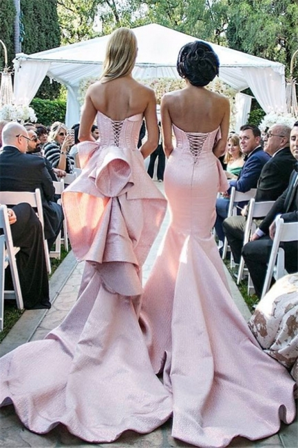 Elegant Long Pink Mermaid Sweetheart Lace-up Bridesmaid Dress