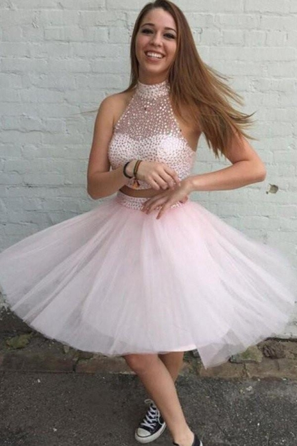 Beaded Chic Neck Pink Two-Piece High Homecoming Dresses