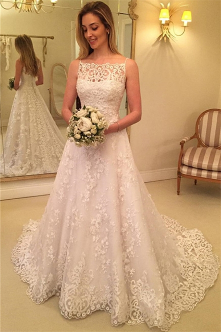 Sweep-Train Lace Buttons Spaghetti-Straps Sleeveless Wedding Dress