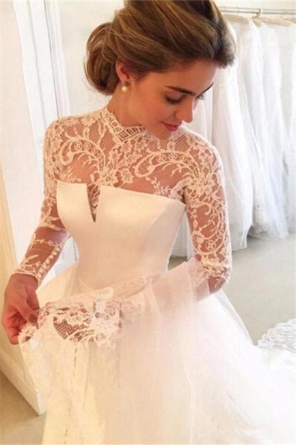 Elegant A-line Long-Sleeve Lace Zipper High-Neck Wedding Dress