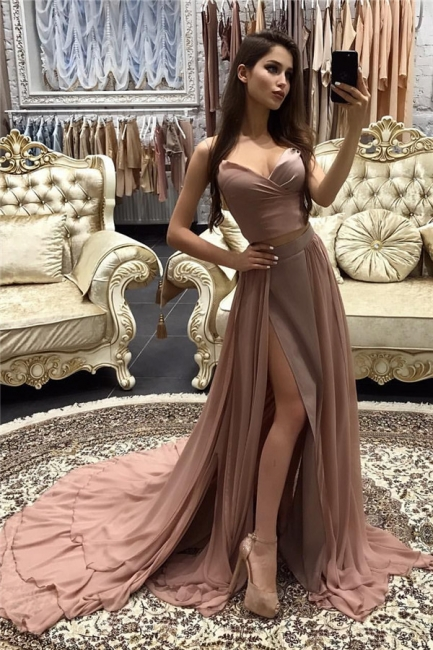 A-line Straps layers Long Sexy Side-Slit Prom Dresses