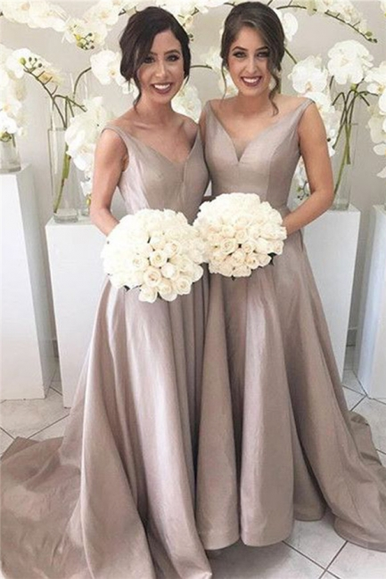 Stretch-Satin Simple V-neck Sleeveless Sheer-Tulle Open-Back Bridesmaid Dress