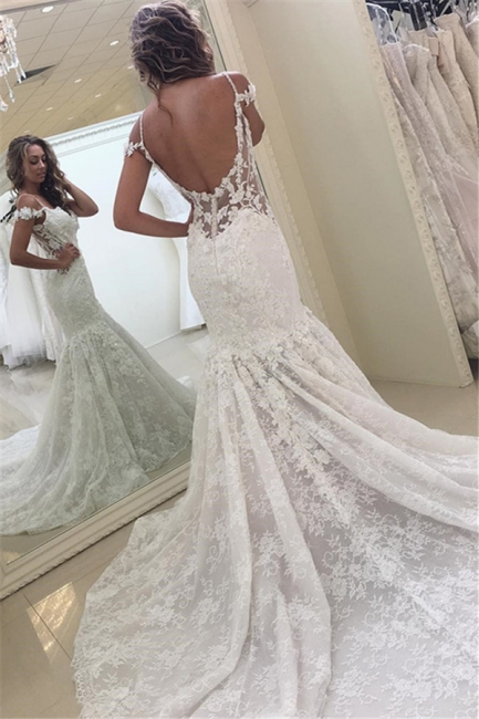 Off-the-shoulder Lace Fit and Flare Modern Wedding Dresses