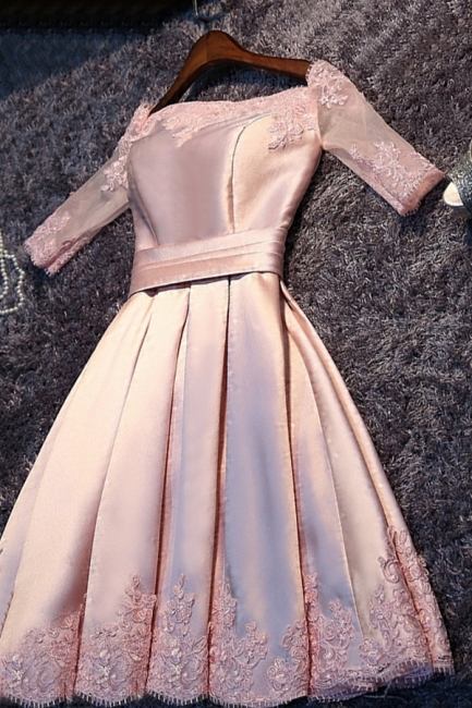 Short A-Line Off-the-Shoulder Half Sleeves Sash Pink Homecoming Dresses
