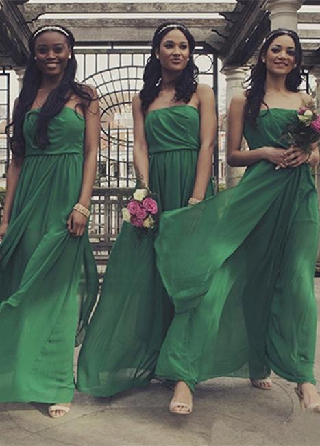 Chiffon A-line Front-Split Sleeveless Sweep-Train Sexy Strapless Bridesmaid Dress