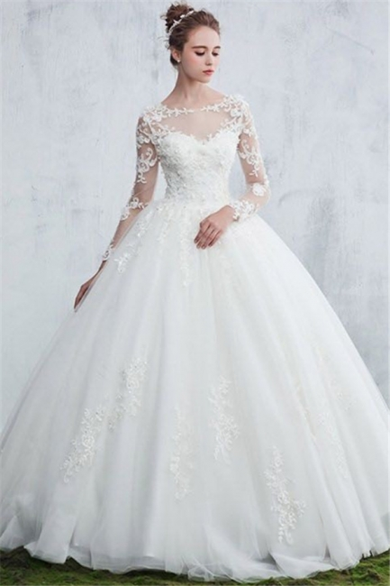 Sexy White Gown Ball Jewel Long-Sleeve Lace Wedding Dresses