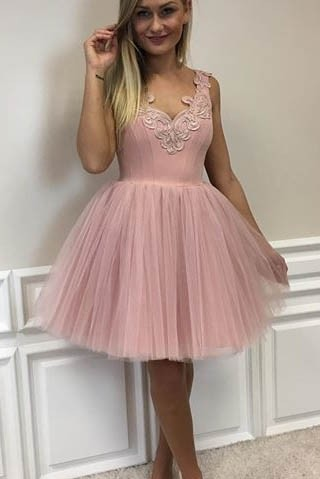 Lace-Appliques Short Tulle A-line Cute Pink Homecoming Dresses