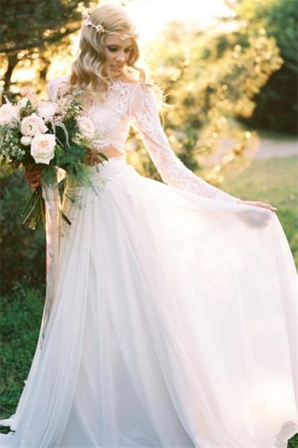 Two-Piece Long-Sleeves Chiffon Lace A-line Elegant Wedding Dresses