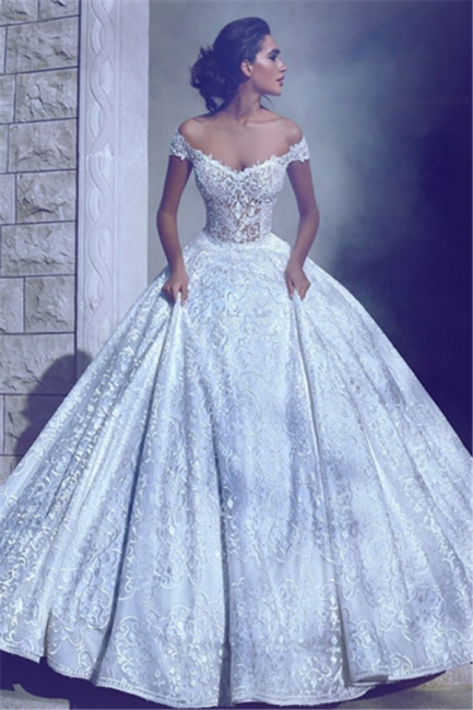 Glamorous Off-The-Shoulder Ball-Gown Long Wedding Dresses