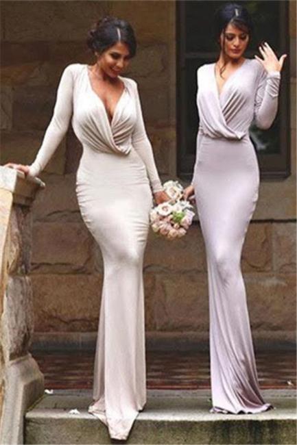 Elegant Long Sleeves V-neck Sheath Floor-length Bridesmaid Dress