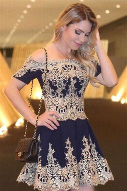 Short-Sleeves Latest Cheap Lace Navy Off-The-Shoulder Appliques Homecoming Dress