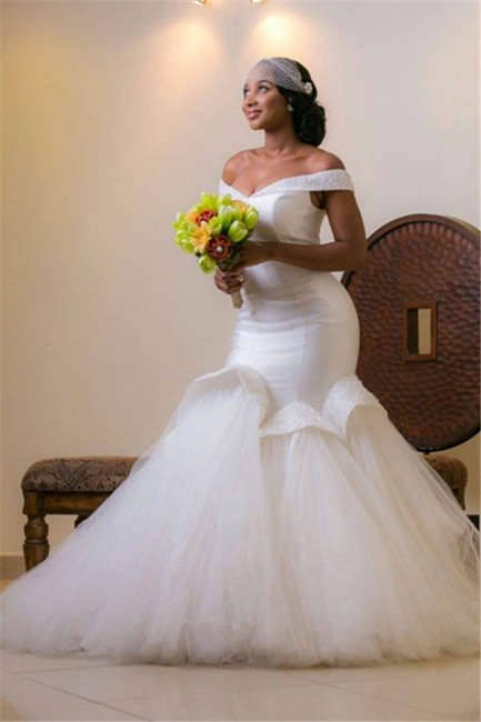 Glamorous Tulle Off-the-shoulder Mermaid Beads Lace-up Wedding Dresses with Sweep-Train