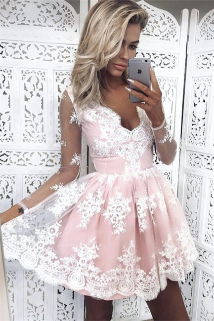 Pink Short Lace Homecoming Dresses Deep-V-Neck Long-Sleeves Party Dress