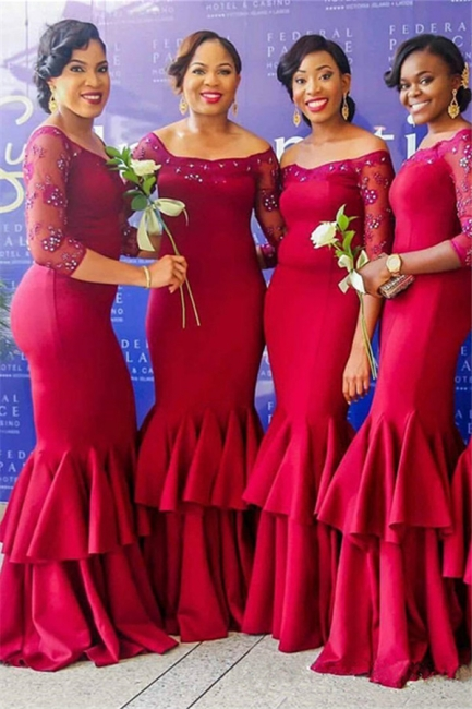 Elegant Red Long Sleeves Mermaid Off-the-Shoulder Tiered Bridesmaid Dress with Beadings