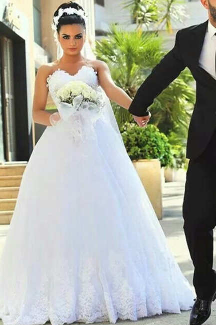 Newest A-line Sweetheart Sleeveless Lace Wedding Dress
