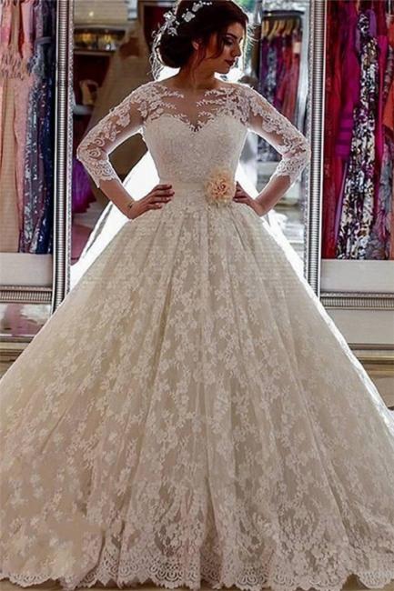 Long Sleeves Lace Sheer Vintage Church-Train Illusion Ball-Gown Arabic Wedding Dress