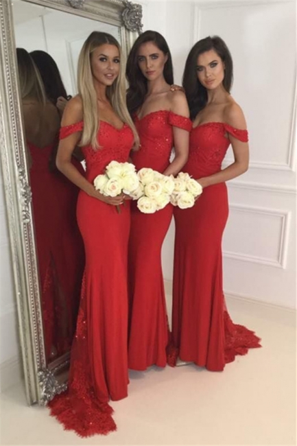 Red off-the-Shoulder Bridesmaid Dresses Zipper Back Long Lace Party Gowns