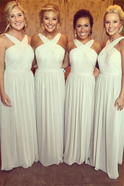 Elegant Sleeveless A-line Chiffon Cross Bridesmaid Dress