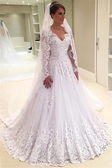 Elegant A-Line Appliques Long-Sleeves Tulle V-Neck Wedding Dresses with Beadings