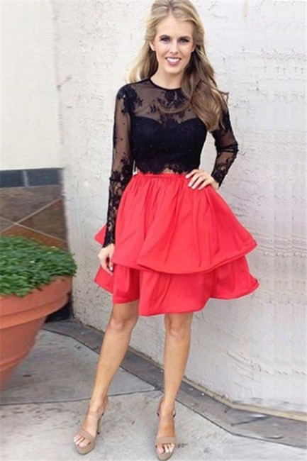 Chic Lace A-line Long-Sleeves Black Two-Piece Red Homecoming Dresses