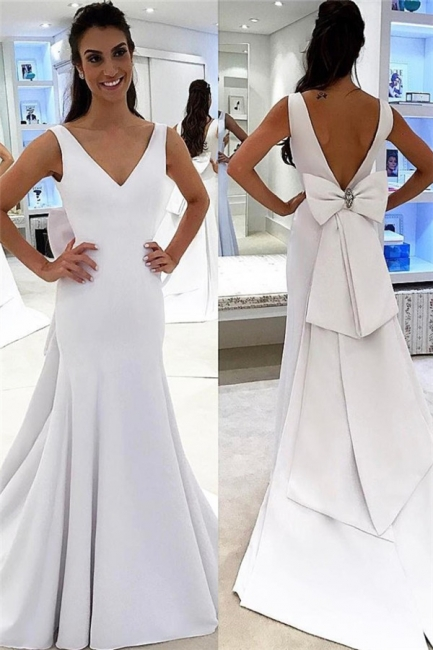 A-line Chic Backless White Simple Sashea V-neck Wedding Dress