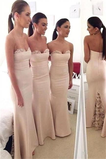 Elegant Sweetheart Lace Mermaid Long Bridesmaid Dress