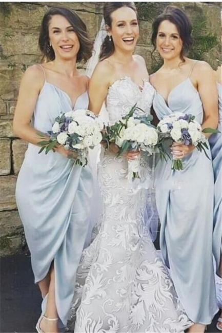 Sky-Blue Ruffles Spaghettis-Straps Sheath Slit Bridesmaid Dresses