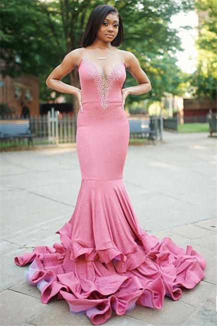 Pink Straps V Neck Fitted Beaded ruffles Mermaid Prom Dresses   Fit and Flare cheap Evening Dresses