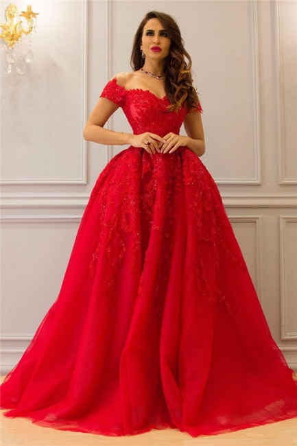 Off the Shoulder Appliques Puffy Red Prom Dresses | Gorgeous Long Evening Dresses
