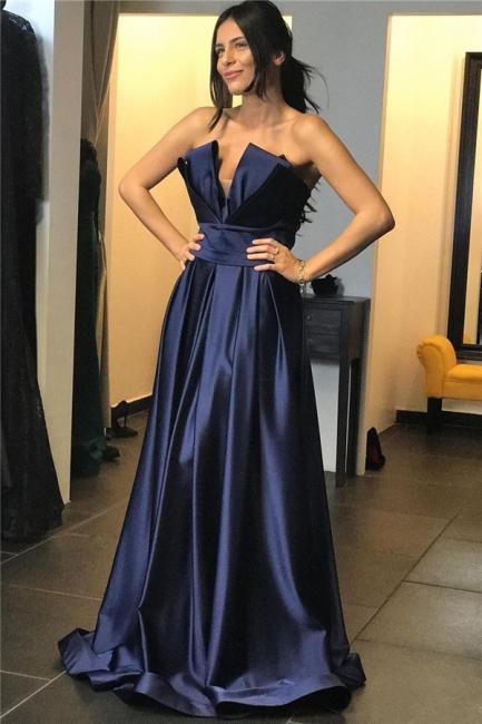 Strapless V-neck A-line Belted Satin Prom Dresses | Long Evening Dresses