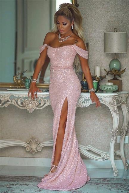 Off the Shoulder Belted Pink Sequin Prom Dresses with Side Slit
