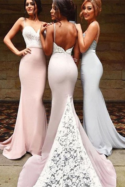 New Arrival Mermaid Backless Lace-Top Spaghetti Straps Bridesmaid Dresses