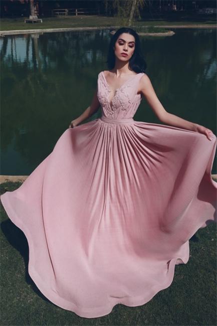 Elegant Sleeveless V-neck Appliques A-line Prom Dresses | Long Evening Dresses for Fashion UK Girls