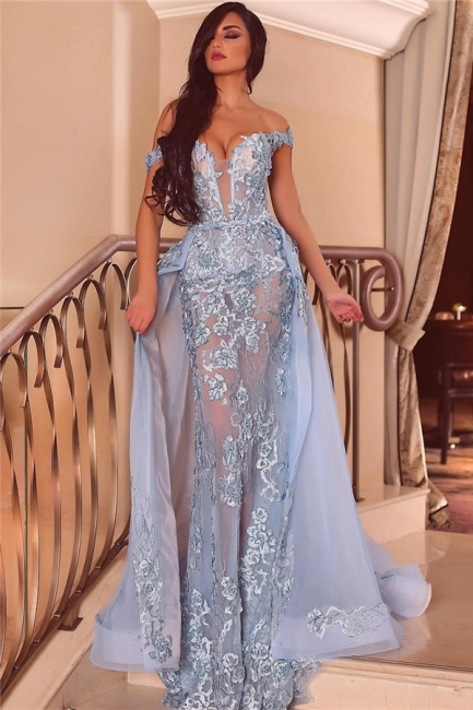 Off the Shoulder Sweetheart Sheer Form-fitting Prom Dresses with Detachable Train