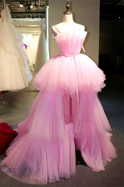 Pink Strapless Sleeveless High Low Backless Prom Dresses