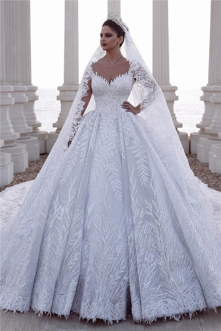 Gorgeous V Neck Long Sleeve Ball Gown Beading Applique Wedding Dresses