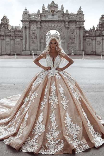 Luxury V Neck Applique Beading Puffy Ball Gown Wedding Dresses With Glitter Tulle