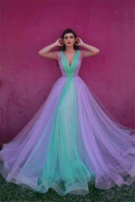 Colorful Sleeveless V-neck A-line Tulle Prom Dresses | Long Party Dresses