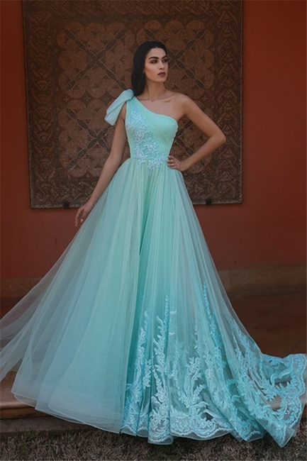 One Shoulder A-line Sleeveless Tulle Prom Dresses | Elegant Evening Dresses
