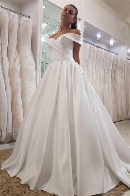 Elegant Swetheart Off The Shoulder Ruffles Sash A Line Wedding Dresss