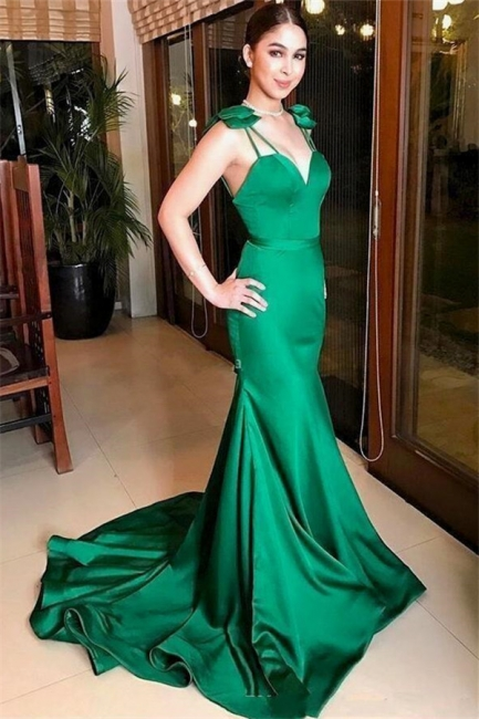 Straps Sweetheart Mermaid Jade Prom Dresses | Silky Evening Dresses