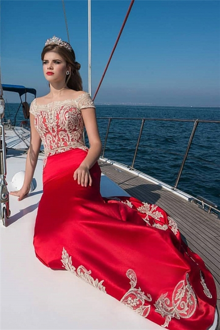 Bateau Cap Sleeves Appliques Fitted Red Prom Dresses | Formal Evening Dresses